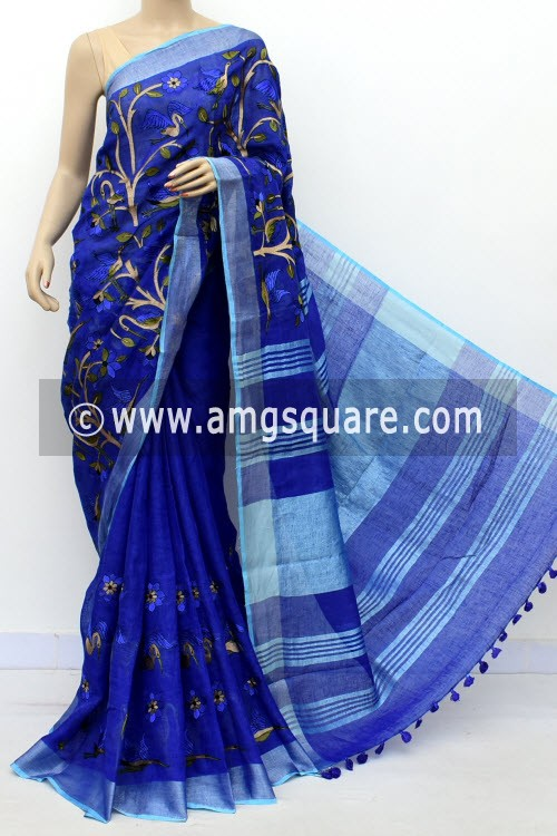 Blue Exclusive Wrinkle Free Linen Fabric Embroidered Saree (With Blouse) 16293