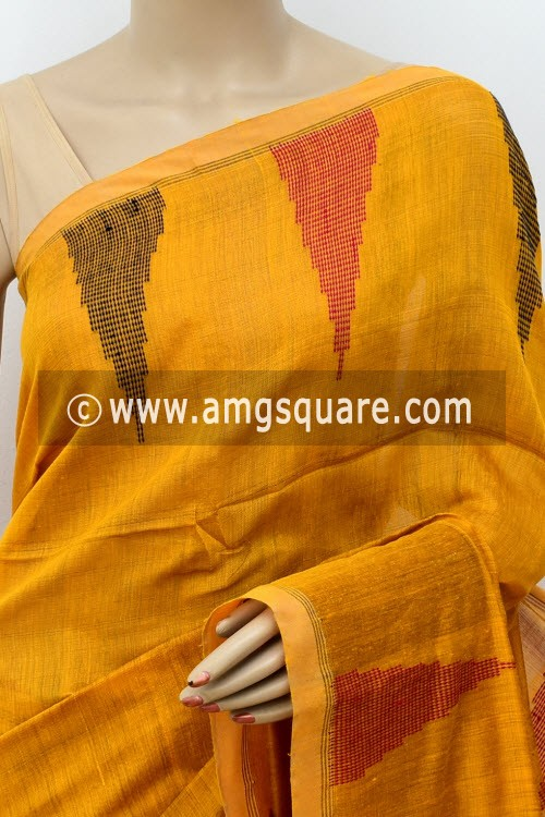 Mustared Yellow Handloom Masturised Cotton Saree (With Contrast Blouse) 16306