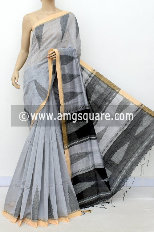 Grey Handloom Masturised Cotton Saree (With Contrast Blouse) 16307