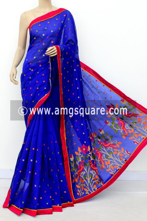 Blue Embroidered Handloom Chanderi Cotton Saree (With Blouse) 16317