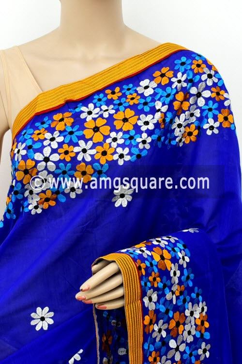 Yellow Blue Embroidered Handloom Chanderi Cotton Saree (With Blouse) Half-Half 16322