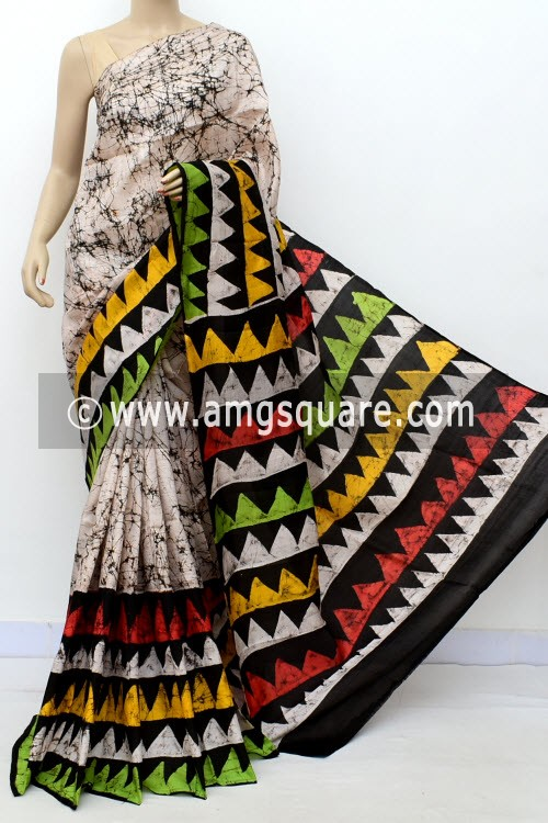 Off White Handloom Double Knitted Batik Print Pure Silk Saree (With Blouse) 16364
