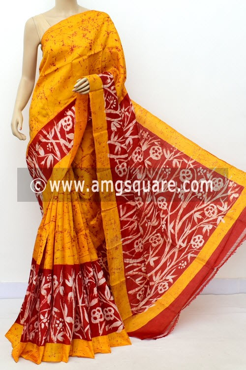 Mustard Yellow Red Handloom Double Knitted Batik Print Pure Silk Saree (With Blouse) 16365