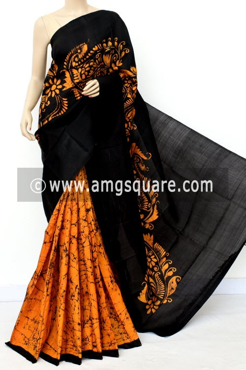 Black Mustard Yellow Handloom Double Knitted Batik Print Pure Silk Saree (With Blouse) Half-Half 16366