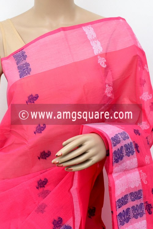 Peach Handwoven Bengal Tant Cotton Saree (Without Blouse) 16981