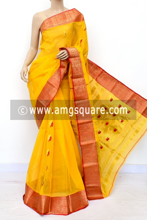 Deep Yellow Handwoven Bengal Tant Cotton Saree (Without Blouse) Zari Border 16992