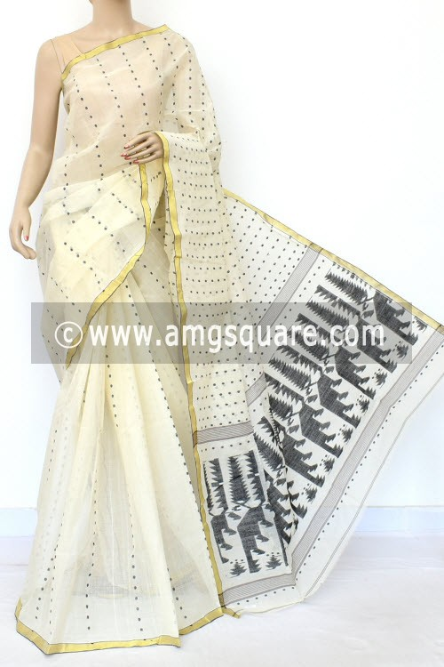 Off White Black Handwoven Thousand Booti Bengal Tant Cotton Saree (Without Blouse) 17021