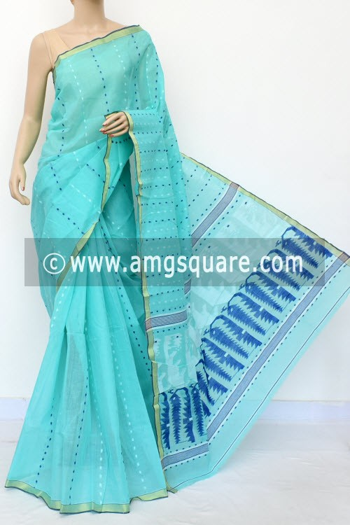 Light Sea Green Handwoven Thousand Booti Bengal Tant Cotton Saree (Without Blouse) 17026