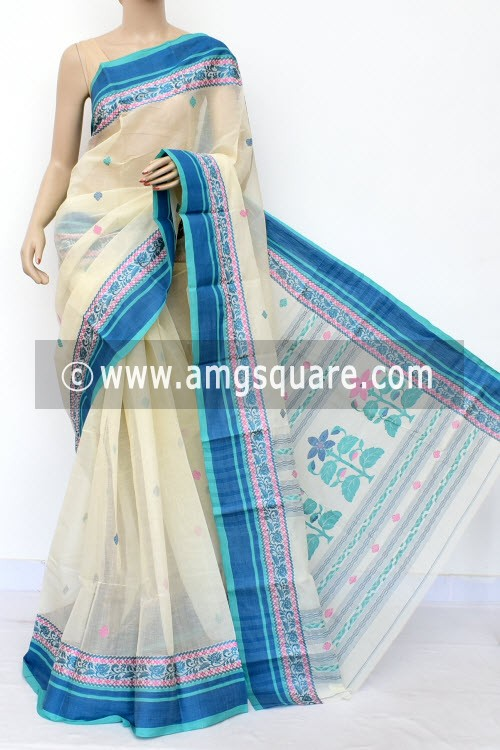 Off White Designer Handwoven Bengal Tant Cotton Saree (Without Blouse) Resham Border 17032