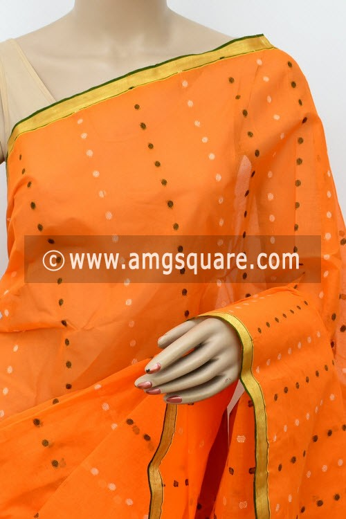 Orange Handwoven Thousand Booti Bengal Tant Cotton Saree (Without Blouse) 17046