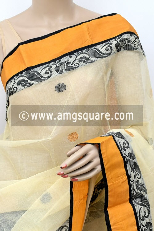 Off White Black Handwoven Bengal Tant Cotton Saree (Without Blouse) Yellow Munga Border 17108