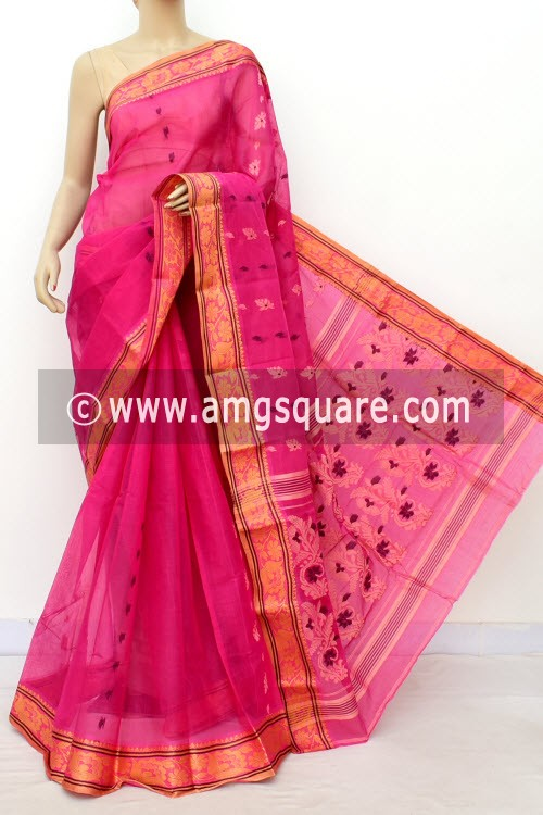 Pink Handwoven Bengal Tant Cotton Saree (Without Blouse) 17116
