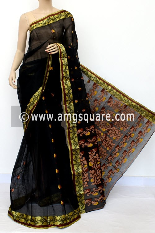 Black Designer Handwoven Bengal Tant Cotton Saree (Without Blouse) Resham Border 17121
