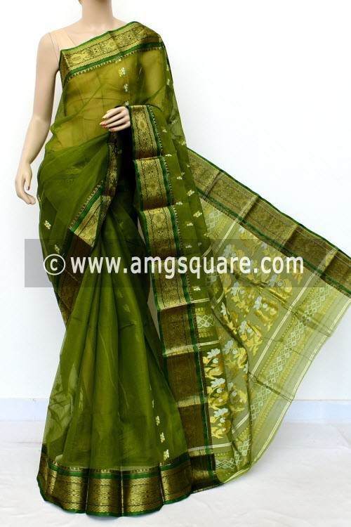 Menhdi Green Handwoven Bengal Tant Cotton Saree (Without Blouse) Golden Zari Border 17138