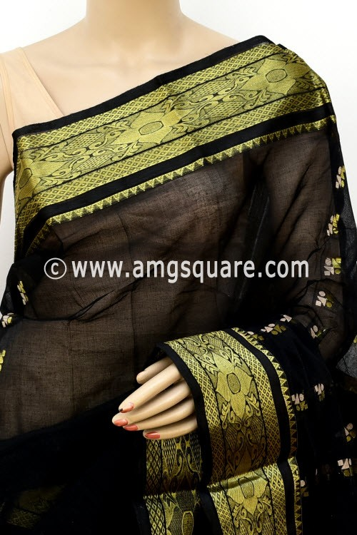 Black Handwoven Bengal Tant Cotton Saree (Without Blouse) Zari Border 17141