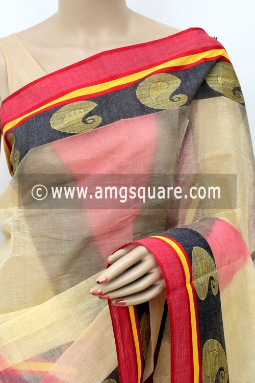 Cream Red Black Printed Handwoven Bengal Tant Cotton Saree (Without Blouse) Zari Border 17144