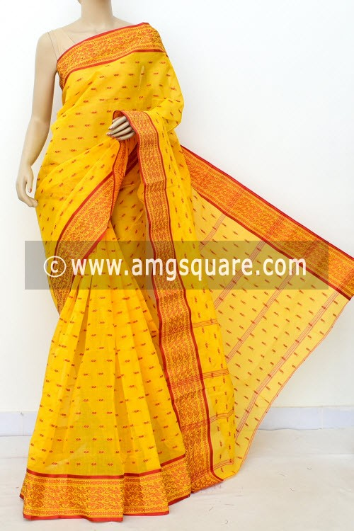 Golden Yellow Handwoven Bengal Tant Cotton Saree (Without Blouse) Allover Booti, Resham Border 17179