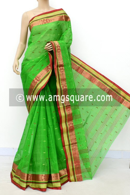 Green Red Handwoven Bengal Tant Cotton Saree (Without Blouse) Allover Booti, Zari Border 17209