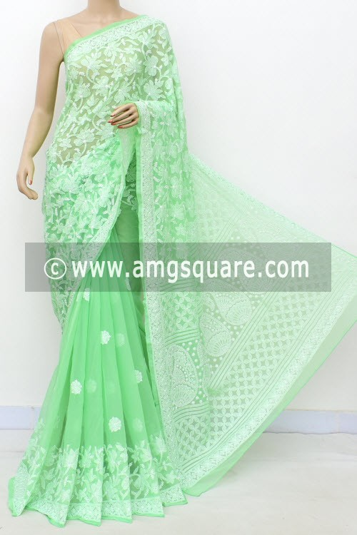 Pista Green Designer Hand Embroidered Lucknowi Chikankari Saree (With Blouse - Georgette) Half Jaal 17296