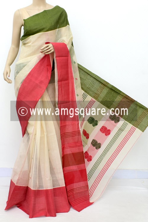 Cream Handwoven Bengal Tant Cotton Saree (Without Blouse) Ganga Yamuna Border 17460