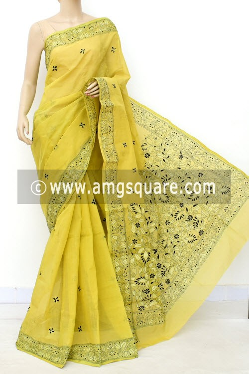 Greenish Yellow Hand Embroidered Kantha Work Bengal Tant Cotton Saree (Without Blouse) 17634