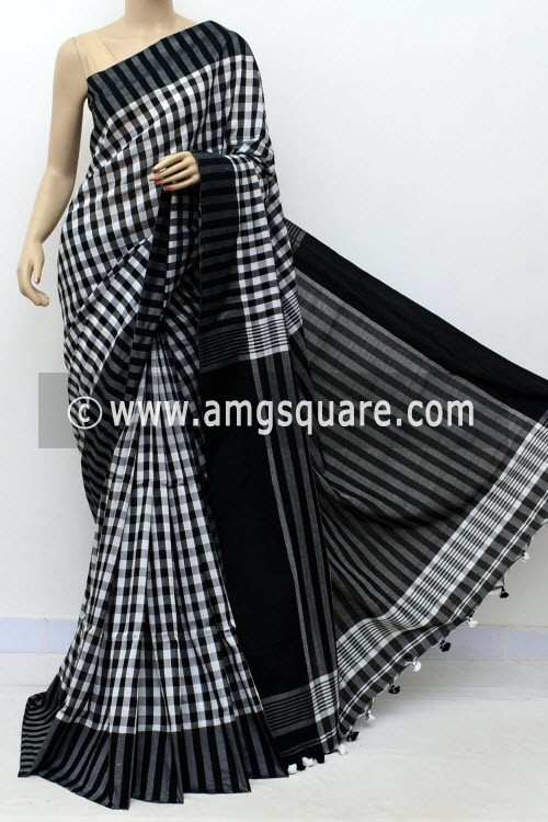 Black White Handloom Soft Cotton Saree (With Blouse) 17646