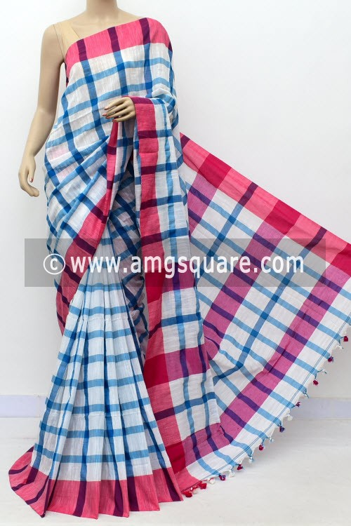 White Pherozi Handloom Soft Cotton Saree (With Blouse) Pink Border 17651