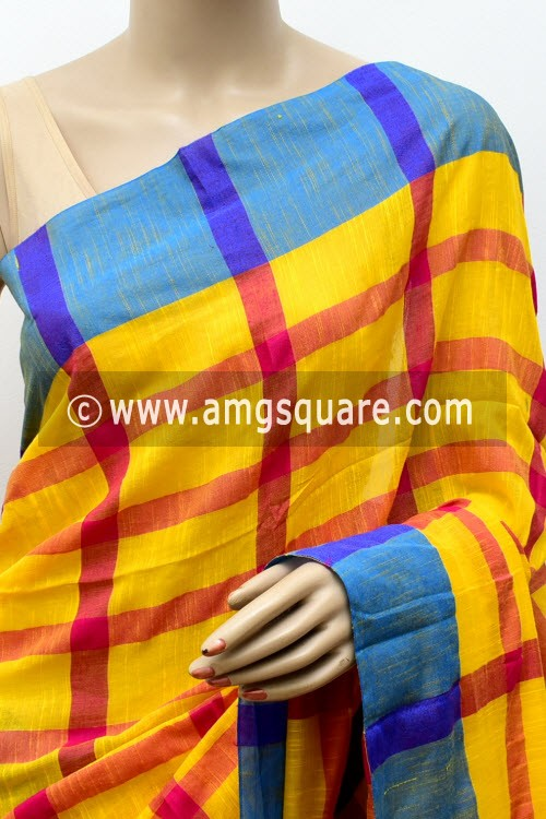 Yellow Red Handloom Soft Cotton Saree (With Blouse) Blue Border 17655