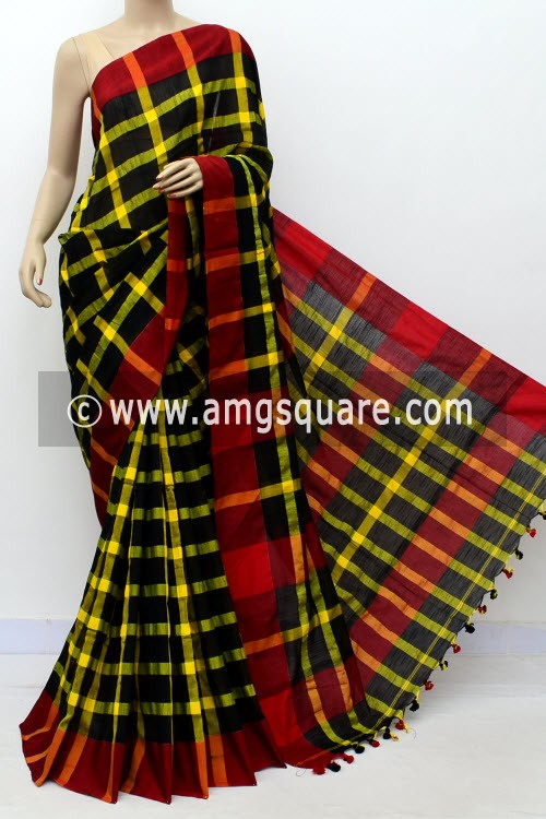 Yellow black Handloom Soft Cotton Saree (With Blouse) Red Border 17659