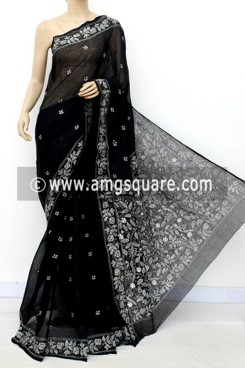 Black Hand Embroidered Kantha Work Bengal Tant Cotton Saree (Without Blouse) 17747