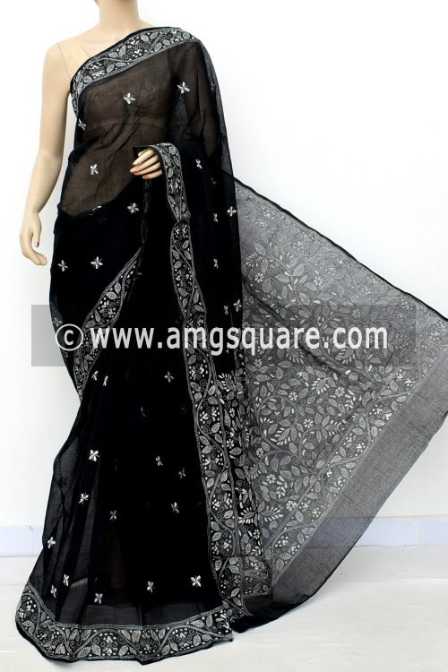 Black Hand Embroidered Kantha Work Bengal Tant Cotton Saree (Without Blouse) 17748
