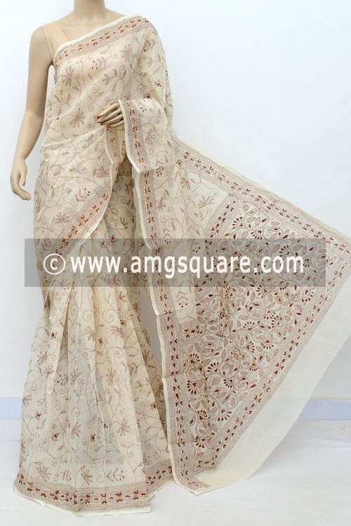 Off White Brown Allover Hand Embroidered Kantha Work Bengal Tant Cotton Saree (Without Blouse) 17760