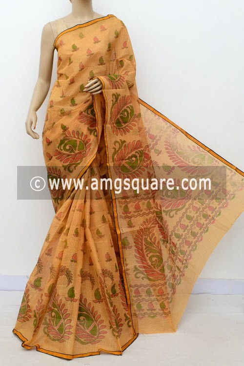 Cream Orange Block Printed Handwoven Bengal Tant Cotton Saree (Without Blouse) Small Check 17810