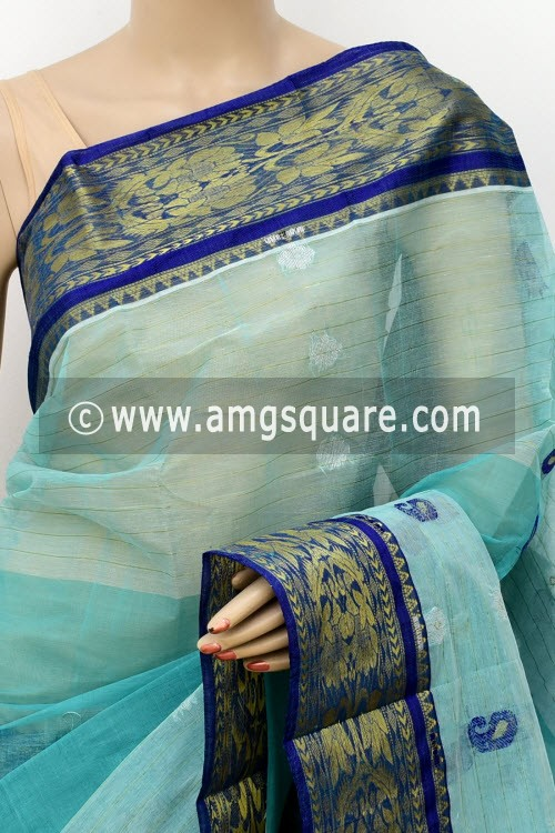 Light Blue Handwoven Bengal Tant Cotton Saree (Without Blouse) 17819