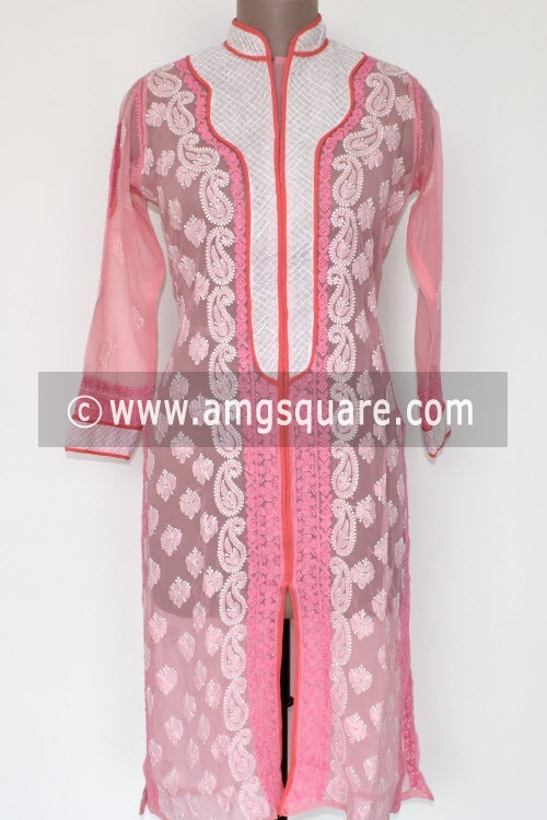 Pink Hand Embroidered Lucknowi Chikankari Long Kurti (Georgette) Bust-42 inch 17899