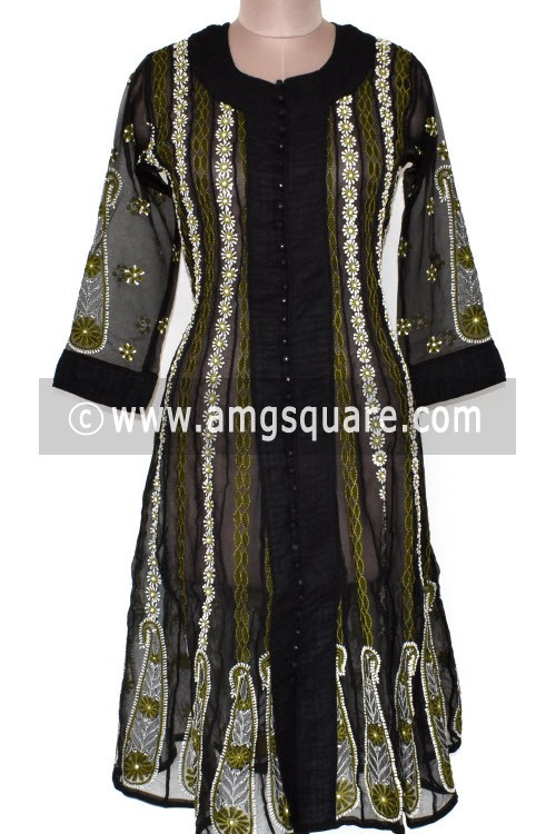 Black Hand Embroidered Lucknowi Chikankari Anarkali (Georgette) Bust-40 inch 17904