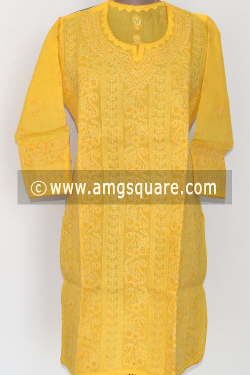 Yellow Hand Embroidered Lucknowi Chikankari Short Kurti (Cotton) Bust-40 inch 17914