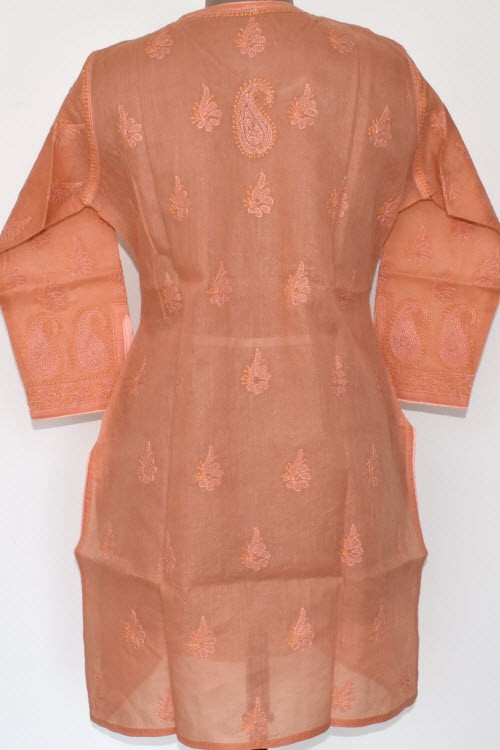 Peach Hand Embroidered Lucknowi Chikankari Short Kurti (Cotton) Bust-44 inch 17915