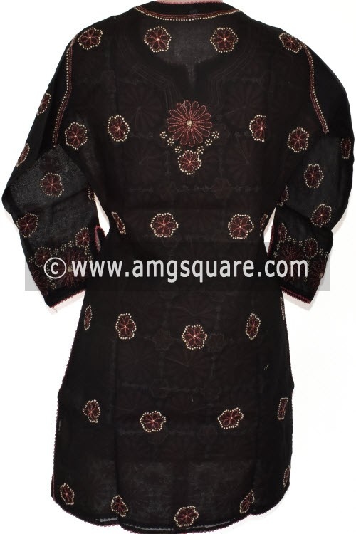 Black Hand Embroidered Lucknowi Chikankari Short Kurti (Cotton) Bust-40 inch 17916
