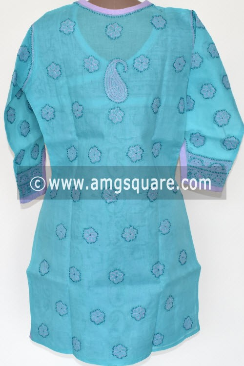 Sea Green Hand Embroidered Lucknowi Chikankari Short Kurti (Cotton) Angrakha Style Bust-40 inch 17922