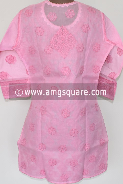 Pink Hand Embroidered Lucknowi Chikankari Short Kurti (Cotton) Bust-40 inch 17923