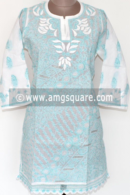 White Light Blue Hand Embroidered Lucknowi Chikankari Short Kurti (Cotton) Bust-42 inch 17925
