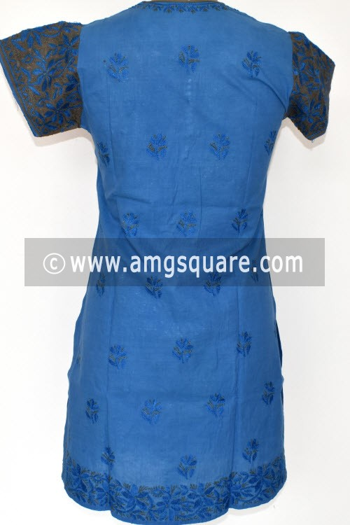 Blue Hand Embroidered Lucknowi Chikankari Short Kurti (Mangalgiri Cotton) Bust-36 inch 17929