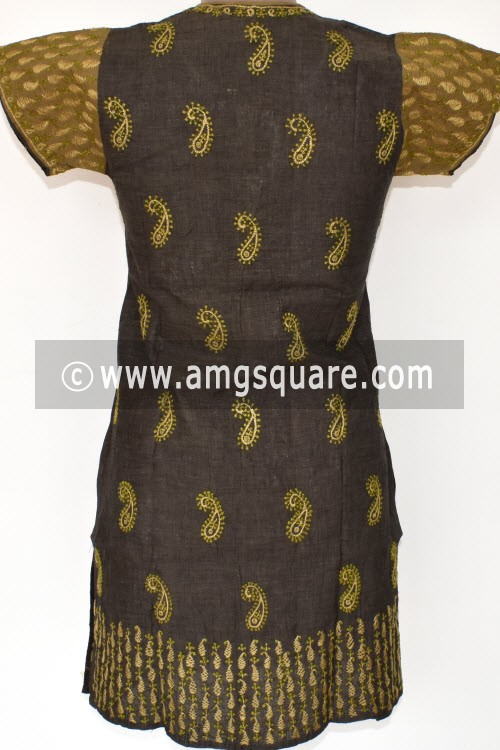 Black Hand Embroidered Lucknowi Chikankari Short Kurti (Mangalgiri Cotton) Bust-36 inch 17930