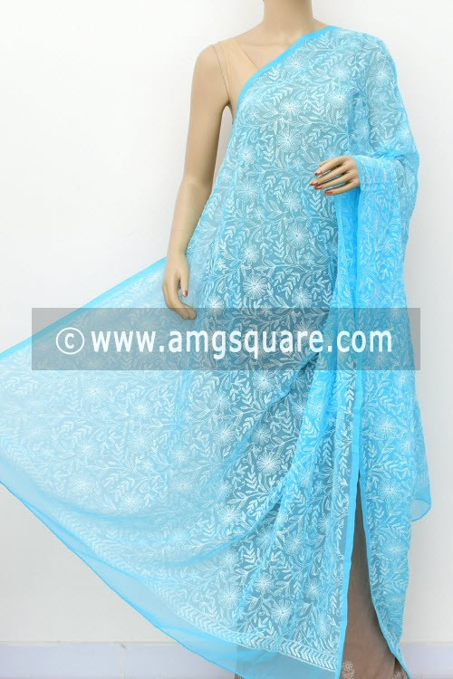 Pherozi Blue Hand Embroidered Allover Tepchi Work Lucknowi Chikankari Dupatta (Georgette) 17961