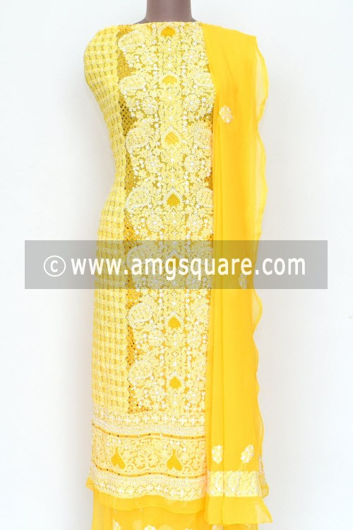 Golden Yellow Un-Stitched Hand-Embroidered Lucknowi Chikankari Salwar Kameez (Georgette) Mukaish Work 18001