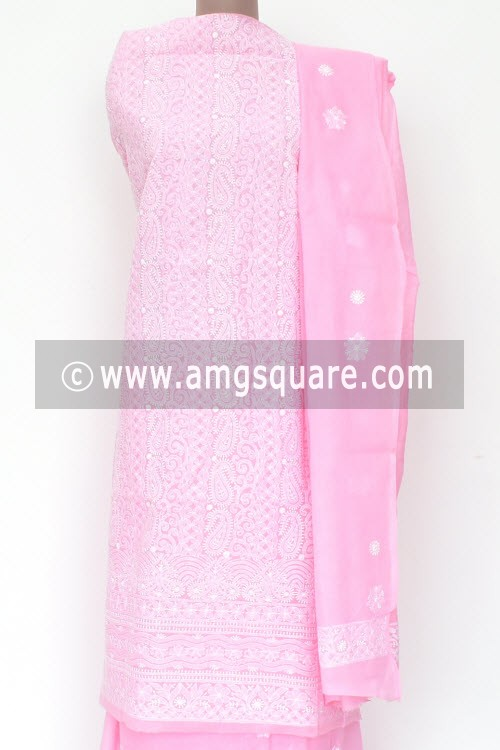 Baby Pink Un-Stitched Allover Hand-Embroidered Lucknowi Chikankari Salwar Kameez (Cotton) Heavy Work 18005