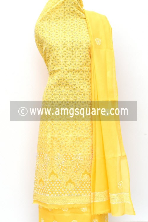 Yellow Un-Stitched Allover Hand-Embroidered Lucknowi Chikankari Salwar Kameez (Cotton) Heavy Work 18006