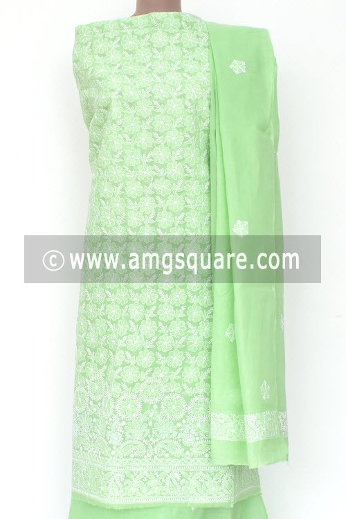 Pista Green Un-Stitched Allover Hand-Embroidered Lucknowi Chikankari Salwar Kameez (Cotton) Heavy Work 18007