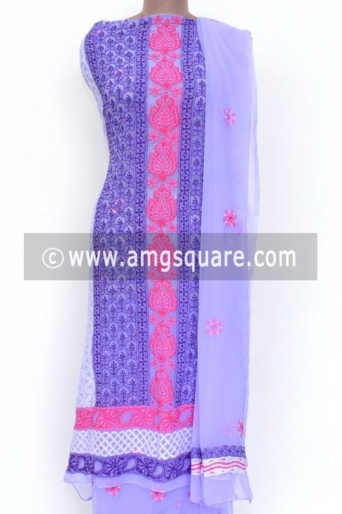 Purple Un-Stitched Allover Hand-Embroidered Lucknowi Chikankari Salwar Kameez (Georgette) 18013